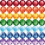 Rainbow of jewelry seamless texture vector. Rainbow of gems - diamonds, rubies, emeralds, sapphires and other. Seamless texture on a white background, vector Royalty Free Stock Photography
