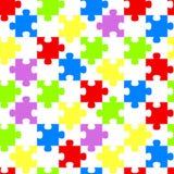 Rainbow Jigsaw Pieces Geometric Seamless Background stock illustration