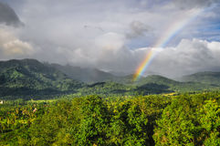 Rainbow in jungle Borobudur complex in Yogjakarta in Java Stock Photography