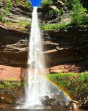 A rainbow in Kaaterskill falls stock photography
