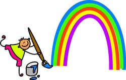 Rainbow kid Stock Images