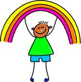 Rainbow kid Stock Photo