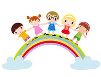 Rainbow and Kids Royalty Free Stock Image