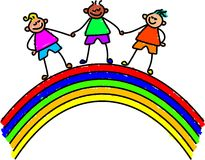 Rainbow kids Stock Photos