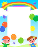 Rainbow, kids and balloons frame Stock Images