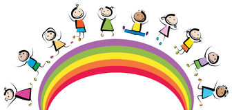 Rainbow kids. Jumping happy kids on rainbow royalty free illustration