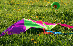 Rainbow kite on the grass Royalty Free Stock Photography