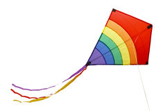 Rainbow Kite. Small Flying Rainbow Kite Isolated on a White Background Stock Photography