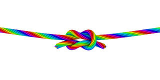 Rainbow Knot_C. Illustration of two rainbow colored ropes tied with a square knot Stock Photos