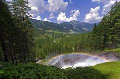 Rainbow in krimml waterfalls austria Royalty Free Stock Photo