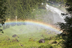 Rainbow and the Krimmler Ache, Austria Royalty Free Stock Photos