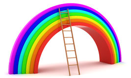 Rainbow and ladder Stock Image
