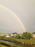 Rainbow at the lake. Rainbow seen from Lake Norman North Carolina Stock Photos