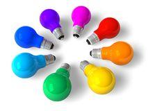 Rainbow lamps in circle. Set of eight color incandescent lamps arranged in circle on white background stock illustration