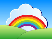 Rainbow landscape. Vector cartoon illustration of colorful rainbow in white cloud over green landscape and blue sky stock illustration