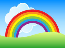 Rainbow landscape vector illustration
