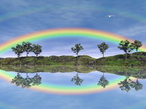 Rainbow landscape - 3D render. Beautiful rainbow upon trees and grassland with its reflection in the water, flying bird in the sky Royalty Free Stock Photography