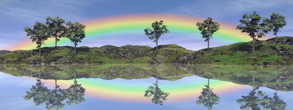Rainbow landscape - 3D render Stock Photography