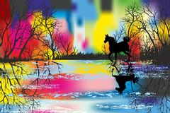 Rainbow landscape with a horse Stock Image