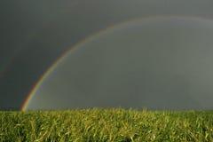 Rainbow landscape summer storm field Stock Photo