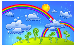 Rainbow lanscape. Grass, trees and two rainbow, cartoon lanscape, vector illustration Royalty Free Stock Photography