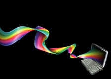 Rainbow laptop background Stock Images