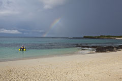 Rainbow at Las Bachas beach Royalty Free Stock Images
