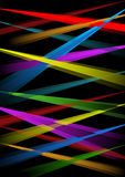 Rainbow laser rays on black background, overlapping beams in red, blue, purple, green, orange. Vector eps10 Stock Images