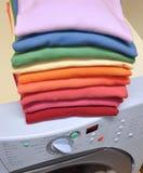 Rainbow laundry on washing machine Royalty Free Stock Images