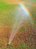 Rainbow on lawn Stock Photo