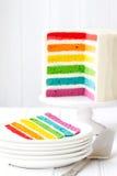 Rainbow Layer Cake Stock Photo