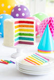 Rainbow layer cake Stock Images