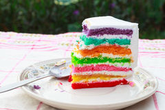 Rainbow layer cake. Close up piece of rainbow layer cake Stock Photos