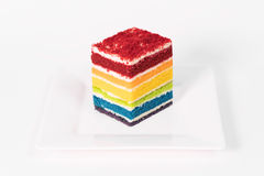 Rainbow layer cake royalty free stock photo