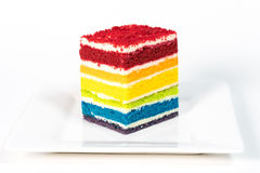Rainbow layer cake Royalty Free Stock Images