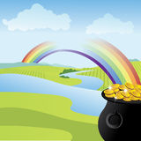 Rainbow leading to a pot of gold Stock Image