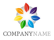 Rainbow leaf logo. Isolated vector colorful leaves symbol on gray glass button with company name lettering on white background. Ideal for corporate logo, icon Royalty Free Stock Image