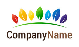 Rainbow leaf logo. Isolated vector colorful leaves symbol on green ground hill with company name lettering on white background. Ideal for corporate logo, icon Stock Photos