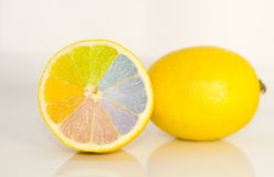 Rainbow on a lemon Royalty Free Stock Photos