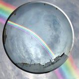 Rainbow and the lens stock photos