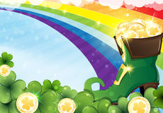 Rainbow and  leprechaun shoe Royalty Free Stock Photography