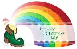 Rainbow and Leprechaun shoe Stock Photos