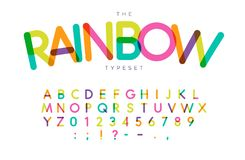 Rainbow letters and numbers set. Festival style vector latin alphabet. Font for events, birthday, kids promotions. Festival logos, banner, monogram and poster vector illustration