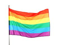 Rainbow LGBT flag fluttering on white background. Gay rights movement stock images