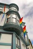 Rainbow LGBT flag on a traditional building in San Francisco, USA