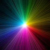 Rainbow light burst - prism. A burst of rainbow colored light on a black background royalty free illustration