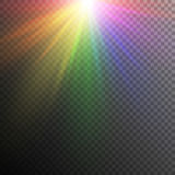 Rainbow light effects. Iridescent light effect on a transparent backdrop. Background with bright rainbow colors royalty free illustration