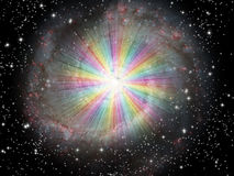 Rainbow Light with stars Royalty Free Stock Image