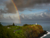Rainbow and lighthouse Royalty Free Stock Photos