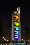 RAINBOW LIGHTING OF THE OLYMPIC TOWER. Colorful Olympic Tower in Beijing Olympic Park. Taken with Canon EOS 5D Mark II on tripod Stock Image